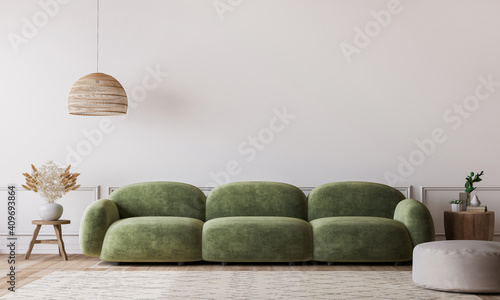 Obraz White living room in modern design, minimal clear space with green sofa and wooden furniture on empty background, 3d render - fototapety do salonu