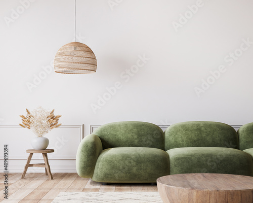 White living room in modern design, minimal clear space with green sofa and wooden furniture on empty background, 3d render