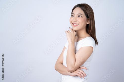 Slika na platnu Asian beauty woman isolated on white background, Natural make up, Skincare and wellness