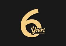 6 Years Anniversary Vector Template, 6th Birthday Logo