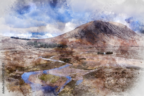 Digital watercolor image of landscape Buachaille Etive Mor and surrounding mountains and valleys in Scottish Highlands © veneratio