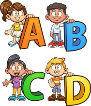 Kids Holding Letters From The Alphabet. Vector Clip Art Illustration With Simple Gradients. Some Elements On Separate Layers.