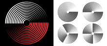 Abstract Rotated Lines In Circle Form As Background. Design Element For Prints, Logo, Sign, Symbol And Textile Pattern. Yin And Yang Symbol.
