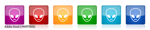 Fotografering Alien face icon set, square glossy vector buttons in 6 colors options for webdes