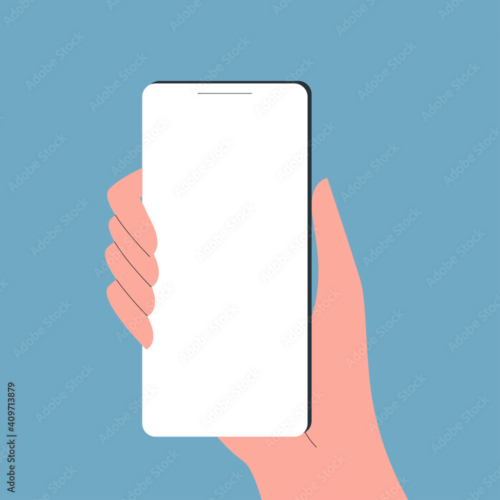 Fototapeta Hand holding smartphone. Mobile phone or cellphone with empty screen in hand. Vector illustration.