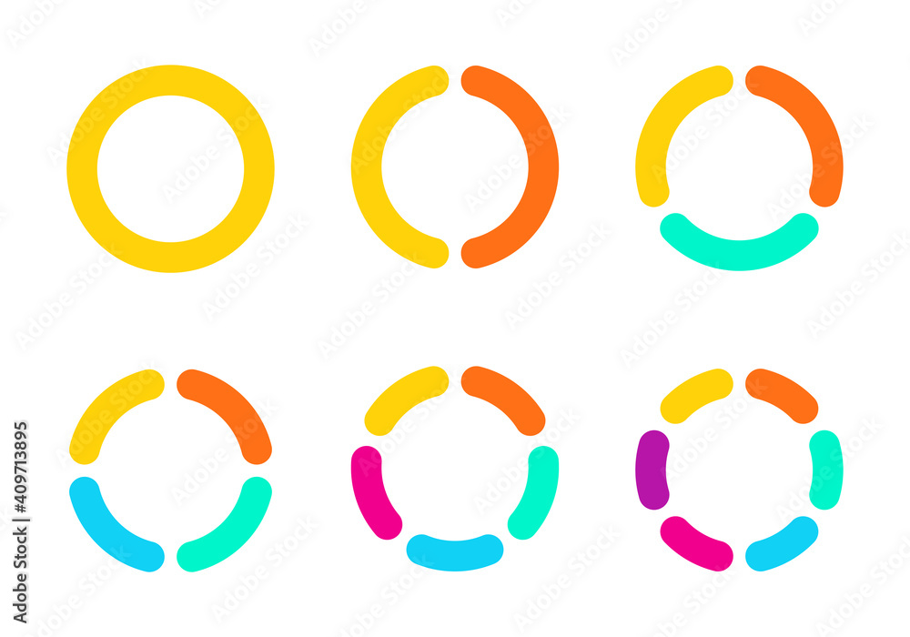 Fototapeta Diagram or Pie chart set with 1,2,3,4,5,6 sections or steps. Circular chart, or graph. Circle infographic design. Vector illustration.