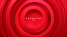 Red Concentric Rings. Abstract Vibrant Background.
