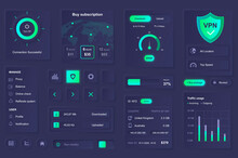 User Interface Elements For VPN Service Mobile App. Unique Neumorphic Design UI, UX, GUI, KIT Elements Template. Neumorphism Style. Different Form, Components, Button, Menu, VPN Vector Icons.