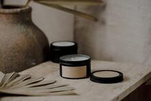 Candle Jars Mockup In Boho Interior