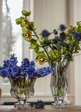 Vases With Blue Hyacinths And Eryngium Flowers
