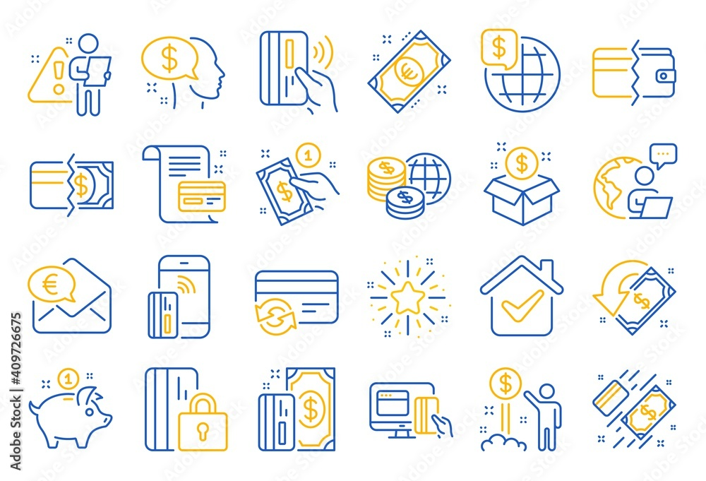 Fototapeta Money wallet line icons. Update credit card, Contactless payment and Piggy bank linear icons. Online payment, Dollar exchange and Fast money send. Private pay, Blocked credit card and Wallet. Vector