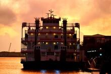 Riverboat Moored At The Savannah, Georgia Riverfront At Sunrise.