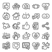 Social Media Line Icons. Set - Share Network, Social Links And Rating Linear Icons. Heart, Feedback Smile Emotion And Internet Media. Share Network, Like Icon, Video Content Rating And Dislike. Vector