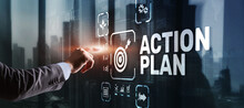 Business Action Plan Strategy Concept On Virtual Screen. Time Management.