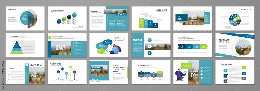 Fototapeta Business presentation slides templates