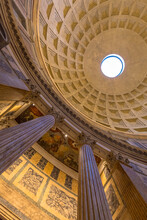 Pantheon Temple Interior In Rome, Italy
