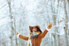 Happy Elegant Woman Rejoicing Outside In City Park In Winter