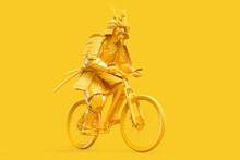 Samurai In Full Armor Riding A Bicycle. 3D Illustration