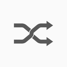 Shuffle Icon, Change Order Vector, Random Sign Illustration