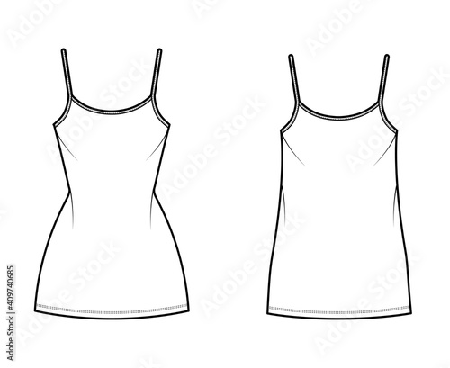 Fotografie, Obraz Camisole dress technical fashion illustration with scoop neck, straps, mini length, oversized, fitted body, Pencil fullness