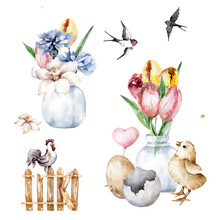 Set Of Easter Elements. Flowers, Chik, Egg Clip Art Hand Painting Cute Farm Isolated Illustration For Design Greeting Card