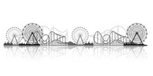 Ferris Wheel. Funfair Carnival Background. Circus Park. Roller Coaster. Vector Illustration.