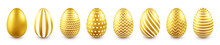 Golden Easter Eggs Isolated On White Background. Seasonal Spring Decoration Element. Egg Hunt Game. Vector Illustration.