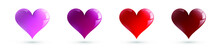 Collection Of Heart Illustrations, Love Symbol Icons Set. Hearts With Different Shades Of Red. Vector Design. Isolated Objects.