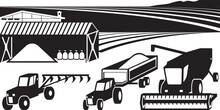 Farm Yard With Agricultural Machinery And Warehouse - Vector Illustration