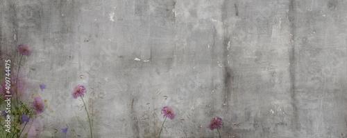 Fototapeta vintage cement textured floral pattern background with beige veins obraz