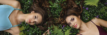 Fashion Portrait Photo Of Two Women On Nature