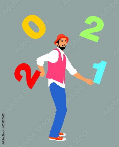 Fototapeta Performer Artist acrobat juggling with numbers