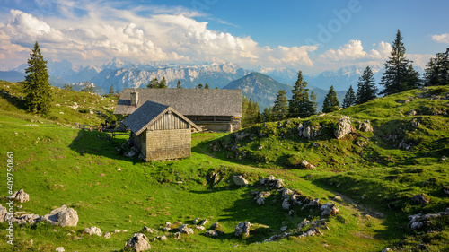 beautiful scenery at Chiemgau alps with Kohler Alm Fototapet