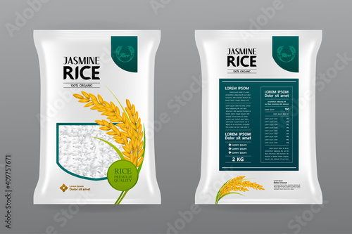 Photographie Premium Rice Product Package Mockup vector illustration