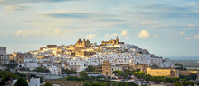 Panoramic View Of The White City Ostuni During The Autumn Season, Province Of Brindisi, Apulia, Italy.