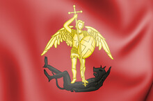 3D Flag Of Brussels, Belgium. 3D Illustration.