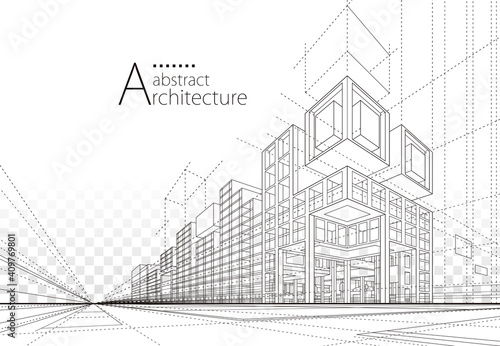 Leinwand Poster Architecture building construction perspective design,abstract modern urban building line drawing