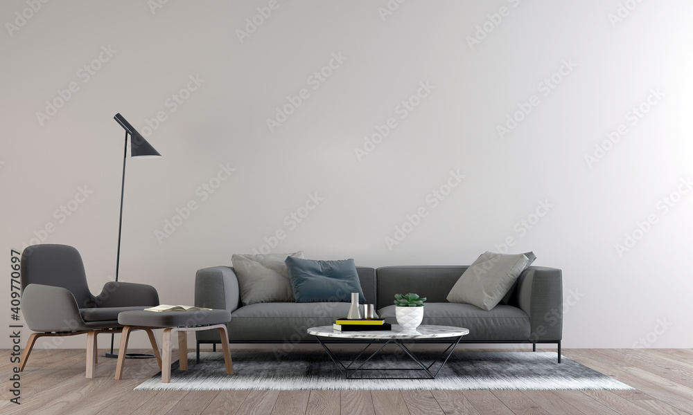 Fototapeta Cozy modern mock up design of living room interior have sofa,armchair and lamp with white pattern wall background