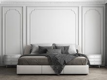 Cozy Modern Mock Up Design Of Bedroom Interior Have White Side Table, Modern Bed With White Pattern Wall Background