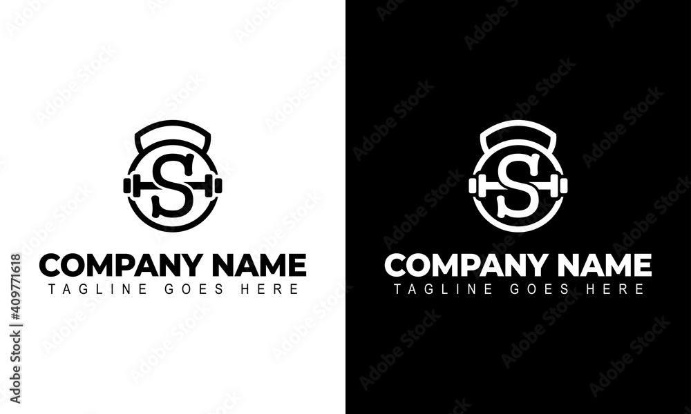 Fototapeta Letter S Logo With a barbell | Fitness Gym Logo | Vector Illustration of Logo Design