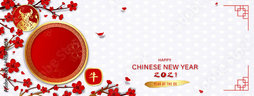 Fototapeta Happy Chinese new year 2021 year of the ox banner background with empty red circ