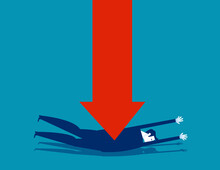 A Business Person Is Superimposed With A Red Arrow. Arrow Falling