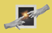 Digital Collage Modern Art. Hands Reaching With Picture Frame