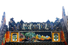 Beautiful Colored Sculptures On The Roof, In An Ancient Ancestral Hall, Guangzhou City, Guangdong Province, China