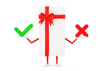 White Gift Box And Red Ribbon Character Mascot With With Red Cross And Green Check Mark, Confirm Or Deny, Yes Or No Icon Sign. 3d Rendering