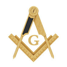 Masonic Freemasonry Golden Square And Compass With G Letter Emblem Icon Logo Symbol. 3d Rendering