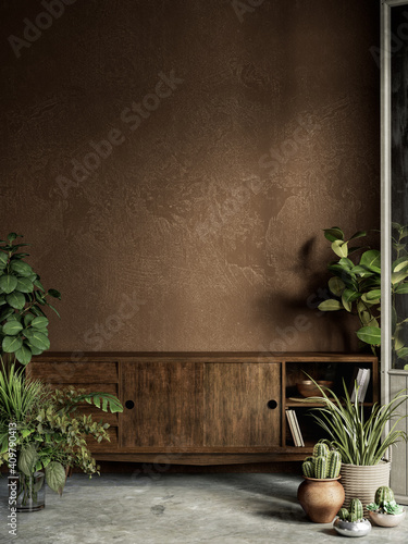 Fototapeta Brown interior with plants, dresser, stucco wall and decor. 3d render illustration mock up. obraz
