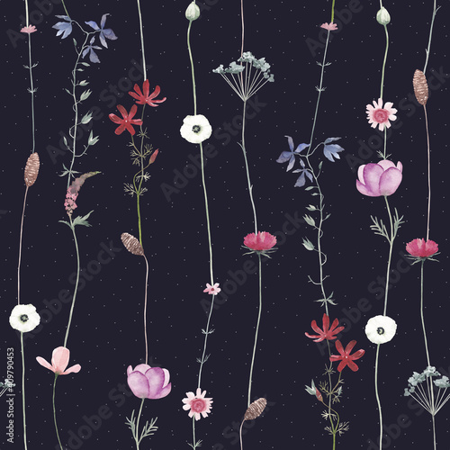 Watercolor pattern with different wild flowers Tapéta, Fotótapéta