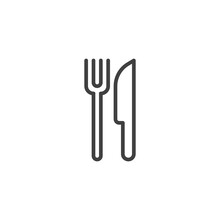 Fork And Knife Line Icon. Linear Style Sign For Mobile Concept And Web Design. Restaurant Outline Vector Icon. Symbol, Logo Illustration. Vector Graphics