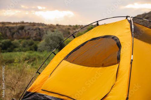 Obraz Camping tent in countryside on sunny day - fototapety do salonu